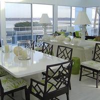 Christina Murphy Interiors - dining rooms - lacquered dining table, white lacquered dining table, black lattice chairs, black dining chairs, green and black dining room, lucite console, lucite console table, green garden stools,