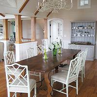 Frank Roop - dining rooms - trestle dining table, bamboo chairs, white bamboo chairs, bamboo dining chairs, white bamboo dining chairs,  Wood