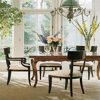 Baker Furniture - dining rooms - dining table with cabriolet legs, black and white dining chairs,  Classic dining table, black dining chairs