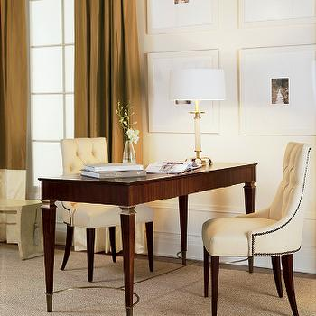 Baker Furniture - dens/libraries/offices - baker chairs, tufted chairs,  Ivory tufted chairs with nailhead trim and desk.