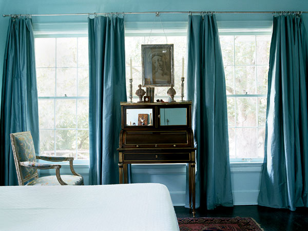 bedrooms - blue silk drapes curtains black antique desk upholstered chair