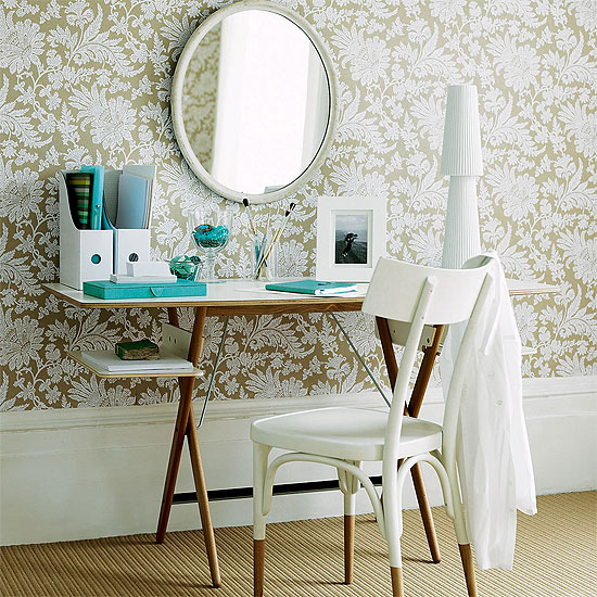 dens/libraries/offices - metallic gold ivory wallpaper walnut desk white chair turquoise blue accents round mirror office bedroom  The elegance