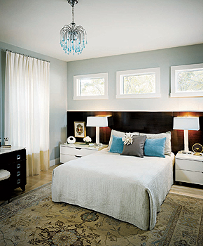 bedrooms - Benjamin Moore - Gray Wisp - spanish white, bi-color drapes, tear drop chandelier, gray walls, gray paint, gray paint colors, turquoise chandelier, turquoise blue chandelier, turquoise tear drop chandelier, gray wisp, turquoise pillows, turquoise blue pillows, banded curtains, banded drapes, two tone drapes, two tone curtains,