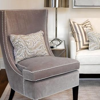 House & Home - living rooms - gray chair, velvet chair, gray velvet chair, mitered pillow, gray mitered pillow, polished nickel lamp,  Sarah