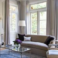 Studio William Hefner - living rooms - french coffee table, mirrored top coffee table, linen sofa, , Worlds Away Sabre Coffee Table,  Gray sofa,
