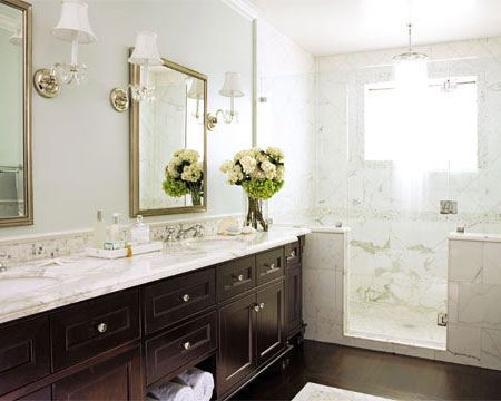 House Beautiful - bathrooms - calcutta, marble, countertops, marble, mosaic, tiles, backsplash, lucite, acrylic, sconces, silver, mirrors, frameless, glass, shower, espresso, cabinets, calcutta marble shower surround, green, gray, walls, paint color, calcutta marble, calcutta marble countertops, calcutta marble tile bathroom, calcutta marble shower, calcutta marble shower tiles, calcutta marble shower surround,