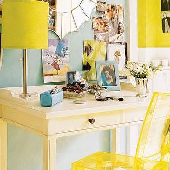 House Beautiful - girl's rooms - acrylic chair, desk chair, yellow acrylic chair, yellow chair, yellow desk, yellow lamp shade, spider web mirror,