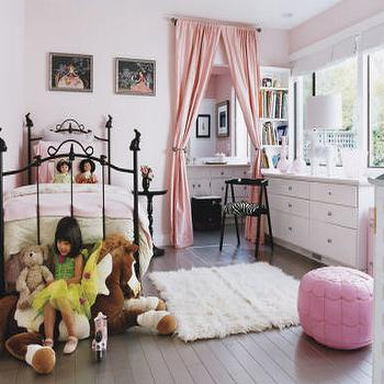 Architectural Digest - girl's rooms - pink drapes, pink curtains, pink window panels, pink silk drapes, pink silk curtains, pink silk window panels, pink pouf, pink leather pouf, pink moroccan pouf, , Pink Moroccan Leather Pouf,