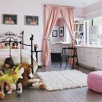 Architectural Digest - girl's rooms - bed, pink, drapes, flokati, rug, white, dresser, jonatham adler, giraffe, lamp, pink drapes, pink curtains, pink window panels, pink silk drapes, pink silk curtains, pink silk window panels, , Pink Moroccan Leather Pouf,