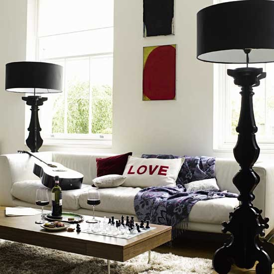 living rooms - modern black floor lamp modern walnut coffee table white modern sofa flokati rug  thanks desiretoinspire  black floor lamps, modern