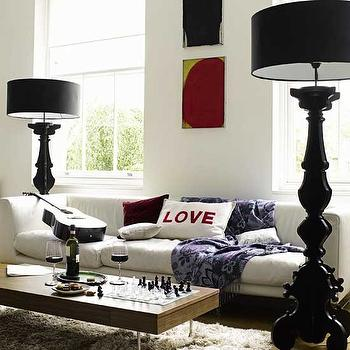 House to Home - living rooms - baroque lamps, black baroque lamps, baroque floor lamps, black baroque floor lamp, low coffee table, black lamp shades,
