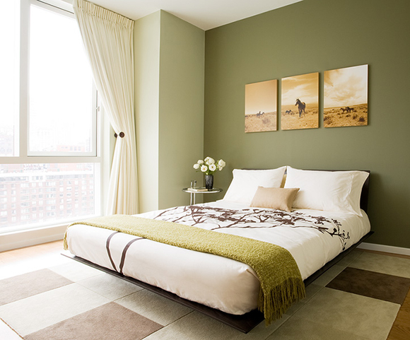 Platform bed transitional bedroom susan kennedy design for Green and brown bedroom designs