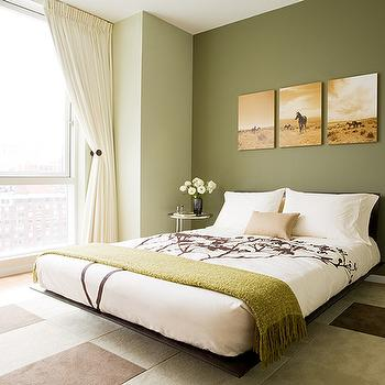 Susan Kennedy Design - bedrooms - platform bed, white and green bedroom, green walls, accent wall, green accent wall, bedroom accent wall, green throw,