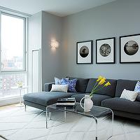 Susan Kennedy Design - living rooms - smoke, blue, gray, sectional, sofa, rug, black, white, blue, accent, chair, smoke gray blue walls, high rise, acrylic coffee table, waterfall coffee table, acrylic waterfall coffee table, Acrylic Waterfall Coffee Table,