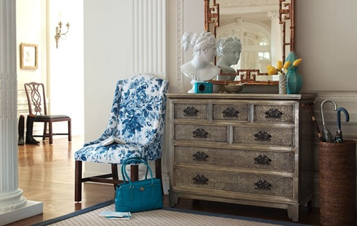 entrances/foyers - white blue damask wingback chair antique silver leaf chest dresser faux bamboo gilt mirror Roman Greek bust statue sisal rug blue ribbon border trim umbrella basket