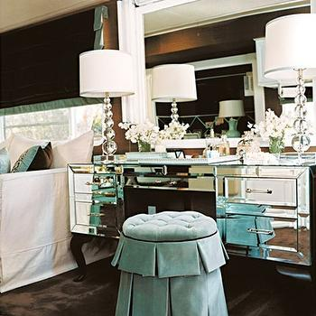 Traditional Home - bedrooms - mirror vanity, mirrored vanity, mirrored make up vanity, mirrored dressing vanity, turquoise stool, turquoise blue stool, turquoise velvet stool, turquoise blue velvet stool, turquoise vanity stools, turquoise blue vanity stool, turquoise ottoman, turquoise blue ottoman, turquoise velvet ottoman, vanity stool,