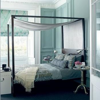 House to Home - bedrooms - turquoise bedroom, turquoise blue bedroom, turquoise walls, turquoise blue walls, canopy bed, black canopy bed, turquoise roman shade, turquoise blue roman shade, aluminum wine table, turquoise bedding, turquoise blue bedding,