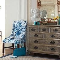 entrances/foyers - white, blue, damask, wingback, chair, antique, silver leaf, chest, dresser, faux, bamboo, gilt, mirror, Roman, Greek, bust, statue, sisal, rug, blue, ribbon, border, trim, umbrella, basket, faux bamboo mirror, bamboo mirror, gold faux bamboo mirror, gold bamboo mirror,