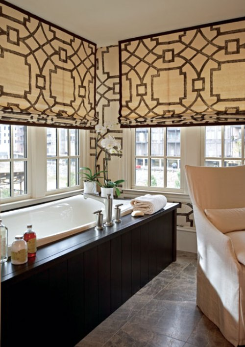 Fretwork window treatments contemporary bathroom for Bathroom window treatments