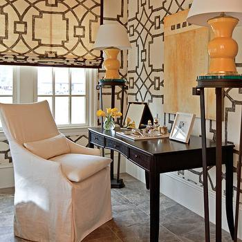 Fretwork Wallpaper, Contemporary, den/library/office, Traditional Home