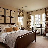 Traditional Home - bedrooms - fretwork curtains, fretwork drapes, fretwork window panels, fretwork roman shades, fretwork window treatments, Michael Devine Fretwork,