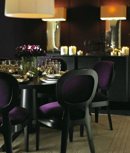Purple Velvet Dining Chairs Contemporary Dining Room