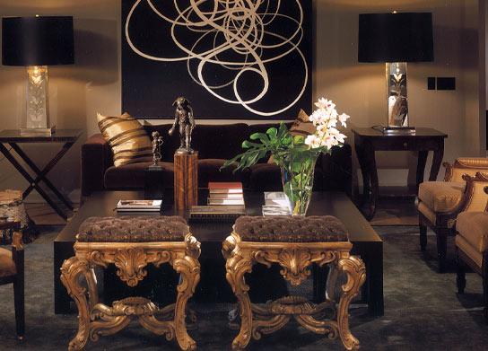 Paul Lavoie Interior Design - living rooms - abstract, art, gold, ottomans, brown, tufted, bench, black, block, coffee table, silver, lamps, black, shades, x-base, folding, accent, table, brown, velvet, modern, sofa, yellow, gold, bergere, chairs,