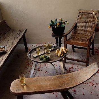 decks/patios - wood bench, rustic wood bench,  so very zen  outdoor space