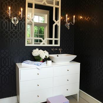 House & Garden - bathrooms - imperial trellis wallpaper, kelly wearstler wallpaper, kelly wearstler imperial trellis wallpaper, onyx gloss wallpaper, imperial trellis onyx gloss wallpaper, kelly wearstler imperial trellis onyx gloss wallpaper, kelly wearstler onyx gloss wallpaper, onyx gloss imperial trellis wallpaper, black trellis wallpaper, repurposed washstand, dresser washstand, dresser vanity, dresser bathroom vanity, trellis mirror, step stool, kids step stool, Kelly Werstler Imperial Trellis Wallpaper, Verno Mirror,