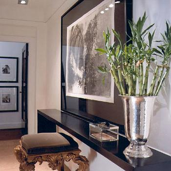 Paul Lavoie Interior Design - entrances/foyers - lacquer console table, black console table, lacquered console table, black lacquered console table, gold stool,