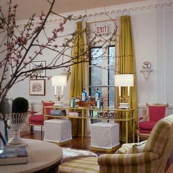 Eileen Kathryn Boyd Interiors - living rooms - chartreuse curtains, chartreuse drapes, chartreuse silk drapes, chartreuse silk curtains, white ottomans, hot pink chairs, french chairs, hot pink french chairs, pink french chairs, dentil crown molding, ornate crown molding, trim moldings,