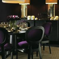 dining rooms - purple dining chairs, velvet dining chairs, purple velvet dining chairs, purple chairs, purple velvet chairs, black dining table, round black dining table,