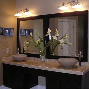 HGTV - bathrooms - floating vanity, floating bathroom vanity, modern floating vanity, modern floating bathroom vanity, bowl sinks, off set faucets, off set bathroom faucets,