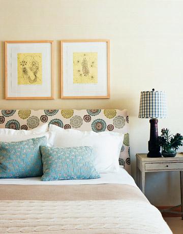 bedrooms - fun fabric headboard blue silk pillows art nightstand black lamp  Aspen chalet guest room  white brown green yellow headboard, blue