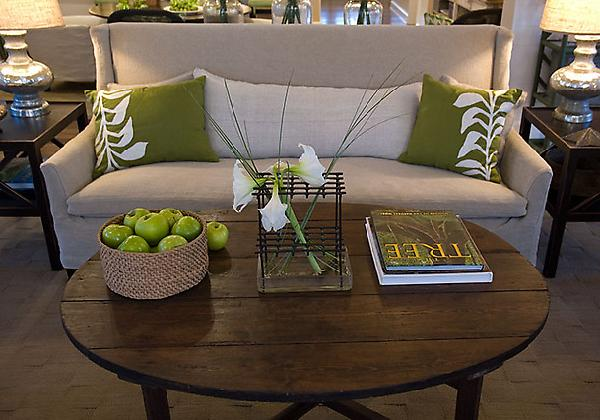 Reclaimed wood coffee table cottage living room hgtv for Brown green and cream living room ideas