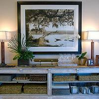 HGTV - dining rooms - buffet, wall art, orchid, lamps, gray, black, brown, entrance, foyer,  Green Home - Rustic cabinet console table!  painted