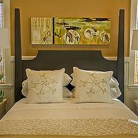 HGTV - bedrooms - stray dog lamps, sam buffet lamps, green lamps, flower lamps, green flower lamps, blakc bed, Stray Dog Sam Buffet Lamp,  Green