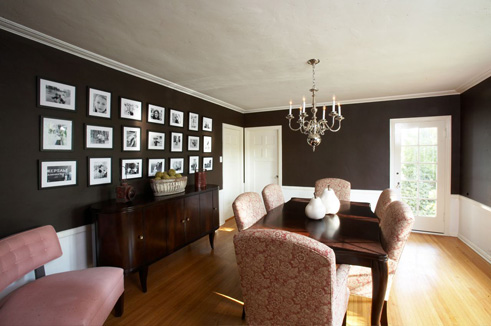 walls, chocolate brown walls, pink and brown dining room, sideboard