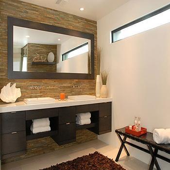 Nicole Sassaman - bathrooms: floating double vanity, floating double vanity, floating double bathroom vanity, wall mounted faucets,  Modern double