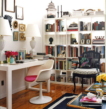 Domino Magazine - dens/libraries/offices - Saarinen Tulip Chair, white, Parson desk, ikea bookcase, gray, lamps, pink, cushion, black, French, accent, chair, eclectic, art, gallery, ikea expedit, expedit bookcase, ikea expedit bookcase, white ikea bookcase, white ikea expedit bookcase,