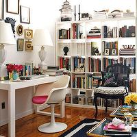 Domino Magazine - dens/libraries/offices - white, Parson desk, ikea bookcase, gray, lamps, pink, cushion, black, French, accent, chair, eclectic, art, gallery, ikea expedit, expedit bookcase, ikea expedit bookcase, white ikea bookcase, white ikea expedit bookcase, Saarinen Tulip Chair,