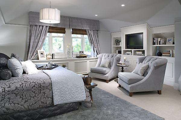 bedrooms - ice blue, gray, chairs, damask, bedding, rug, blue, silk, drapes, cornice box, bamboo, roman shades, built-ins, media, center,  Candice