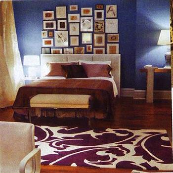 bedrooms - sex and the city bedroom, white and purple rug, purple rug,  SATC  Tufted headboard and purple graphic rug!