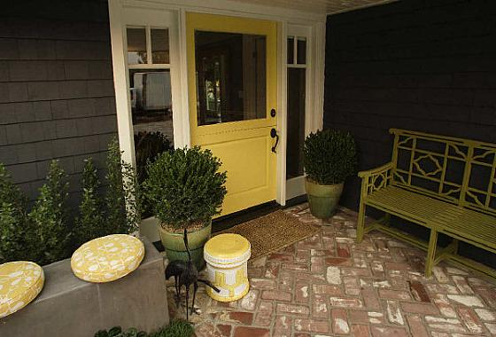home exteriors - potted plants bench yellow door  Thanks to ocregister  yellow door