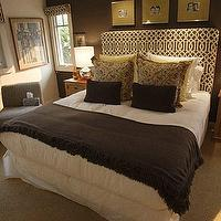 OC Register - bedrooms - trellis headboard, trellis roman shade, brown pillows, brown throw, brown throw, brown throw blanket, Imperial Trellis Fabric,