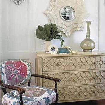 Burnham Design - entrances/foyers - starburst mirror, ivory credenza, spider web mirror, white spider web mirror,  Chest, mirror, chair and vase.