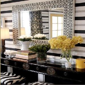 Brown Design - entrances/foyers - zebra stool, striped walls, black and gray striped walls, black lacquer console, lacquered console, black lacquered console, zebra bench,