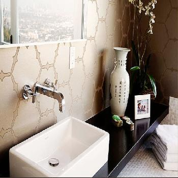 Brown Design - bathrooms - zen, zen bathroom, zen bathrooms, wall mounted faucet, vessel sink,  Love the beautiful gold metallic wallpaper in