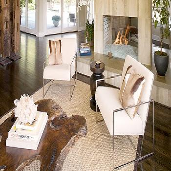 Brown Design - living rooms - driftwood table, driftwood coffee table, chrome chairs, chrome accent chairs,  Love these cool modern cream upholstered