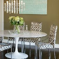 Brown Design - dining rooms - blue, wall art, green gray walls, , Saarinen Table, enter Imperial Trellis Fabric,  Brown gray &amp; blue modern dining